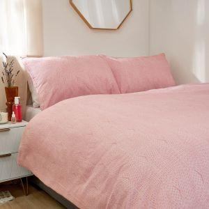 Dreamscene Chunky Knit Print Brushed Cotton Duvet Set - Blush