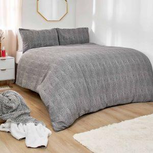 Dreamscene Chunky Knit Print Brushed Cotton Duvet Set - Grey