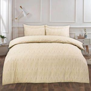 Dreamscene Chunky Knit Print Brushed Cotton Duvet Set - Cream