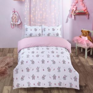 Dreamscene Ellie Elephant Duvet Cover Set - Blush Pink