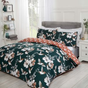 Dreamscene Hummingbirds Duvet Cover Set - Emerald/Orange