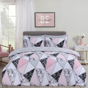 Dreamscene Marble Geometric Duvet Set - Grey/Blush