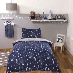 Dreamscene Kids Night Sky Duvet Set, Navy Blue - Junior/Cot Size
