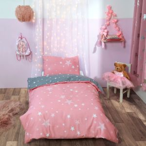 Dreamscene Stars Junior/Cot Duvet Set - Blush Pink