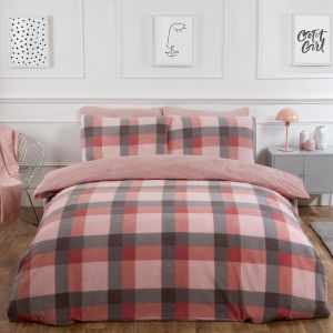 Dreamscene Check Teddy Fleece Duvet Cover Set - Blush