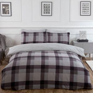 Dreamscene Check Teddy Fleece Duvet Cover Set - Grey