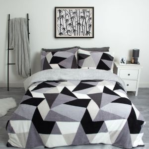 Dreamscene Shapes Teddy Fleece Duvet Cover Set - Grey