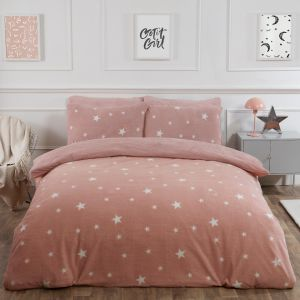 Dreamscene Star Teddy Fleece Duvet Cover Set - Blush