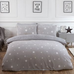 Dreamscene Star Teddy Fleece Duvet Cover Set - Grey