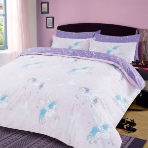 Dreamscene Sparkle Unicorn Duvet Set - Blush