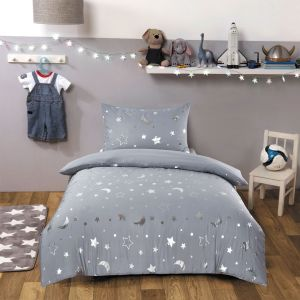 Dreamscene Galaxy Star Duvet Cover Set - Silver Grey