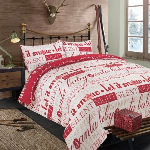 Dreamscene Deck The Halls Bedding Set - Red