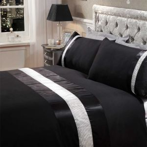 Sienna Diamante Sparkle Duvet Set - Black