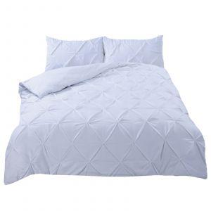 Diamond Pleat Duvet Cover Set - White