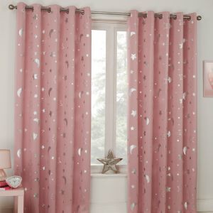 Dreamscene Star Blackout Galaxy Kids Curtains - Blush Pink