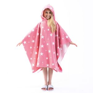 Dreamscene Star Print Hooded Towel Poncho, Blush Pink - One Size