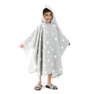 Dreamscene Star Print Hooded Towel Poncho, Grey - One Size