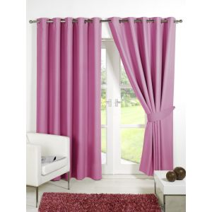 """Dreamscene Ring Top Lined Thermal Blackout Eyelet Curtains, Pink - 90"""" x 90"""""""