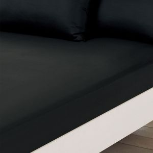 Brentfords Plain Dyed Fitted Sheet - Black
