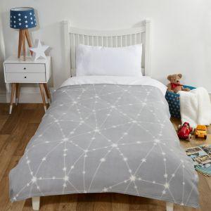 Dreamscene Galaxy Star Fleece Throw, Silver Grey - 120 x 150cm