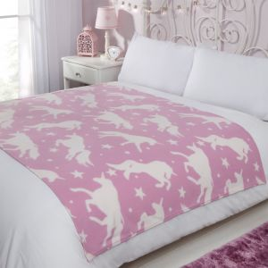 Dreamscene Fleece Blanket 120x150cm - Unicorn Pink