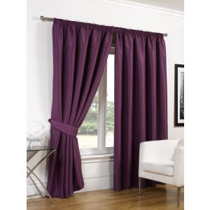 Faux Silk Blackout Curtains - Aubergine