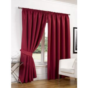 """Luxury Faux Silk Blackout Curtains Including Tiebacks - Red 46""""X54"""""""