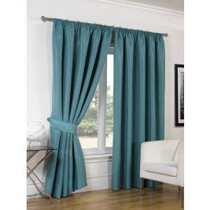 Faux Silk Blackout Curtains - Teal 46x54