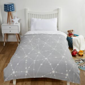 Dreamscene Galaxy Star Fleece Throw, Silver Grey - 120 x 150cm