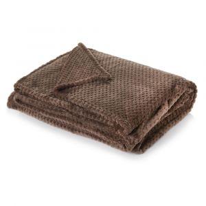 Luxury Waffle Mink Warm Throw Over Sofa Bed Soft Blanket 125 x 150cm Chocolate