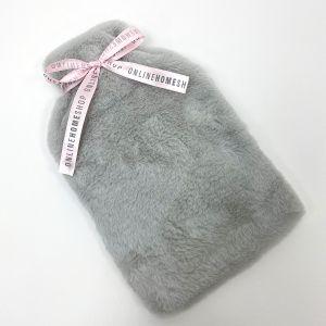 Online Home Shop Faux Fur Hot Water Bottle Cover - Silver Grey