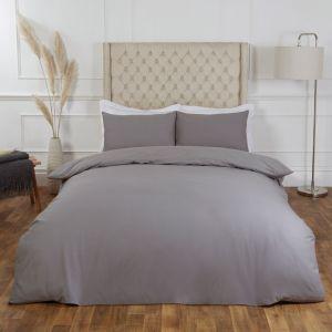 Highams 100% Cotton Plain Duvet Set - Grey