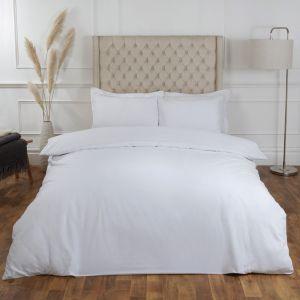 Highams 100% Cotton Plain Duvet Set - White