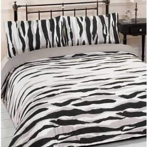 Dreamscene Kato Animal Print Duvet Cover Set - Black/White, Single