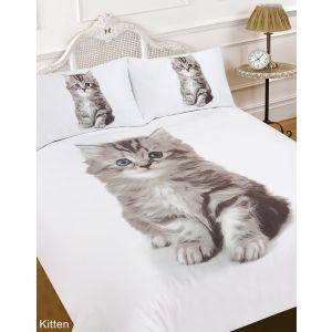 Dreamscene Kitten Animal Print Duvet Cover Bedding Set - Double
