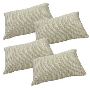 Pack of 4 Dreamscene Soft Knitted Cushion Cover 30x45cm Unfilled - Biscuit
