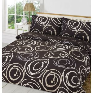 Dreamscene Lohan Circles Duvet Cover Set - Black
