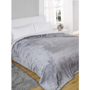 Faux Fur Mink Throw - Silver