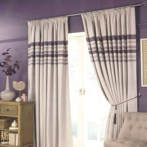 Pencil Pleat Striped Curtains - Natural