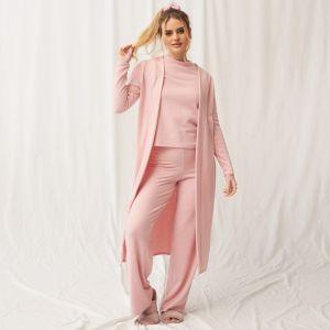 OHS Soft Brushed Rib Maxi Cardigan - Blush