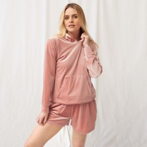 OHS Velour Casual Hoodie - Blush