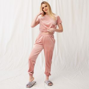 OHS Velour Pocket Casual Joggers - Blush