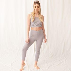 OHS Brushed Rib Stretch Leggings - Grey