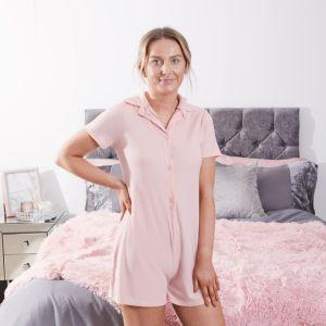 OHS Brushed Rib Playsuit - Blush Pink