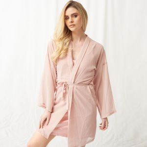 OHS Short Chiffon Robe - Blush