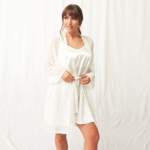 OHS Short Chiffon Robe - Cream