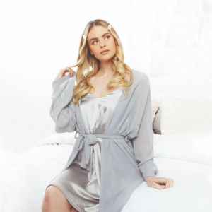 OHS Short Chiffon Robe - Grey
