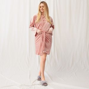 OHS Velour Tie Robe - Blush