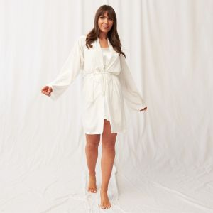 OHS Velour Tie Robe - Cream