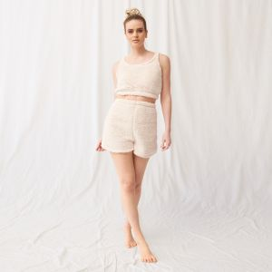OHS Teddy Borg High Waist Shorts - Cream
